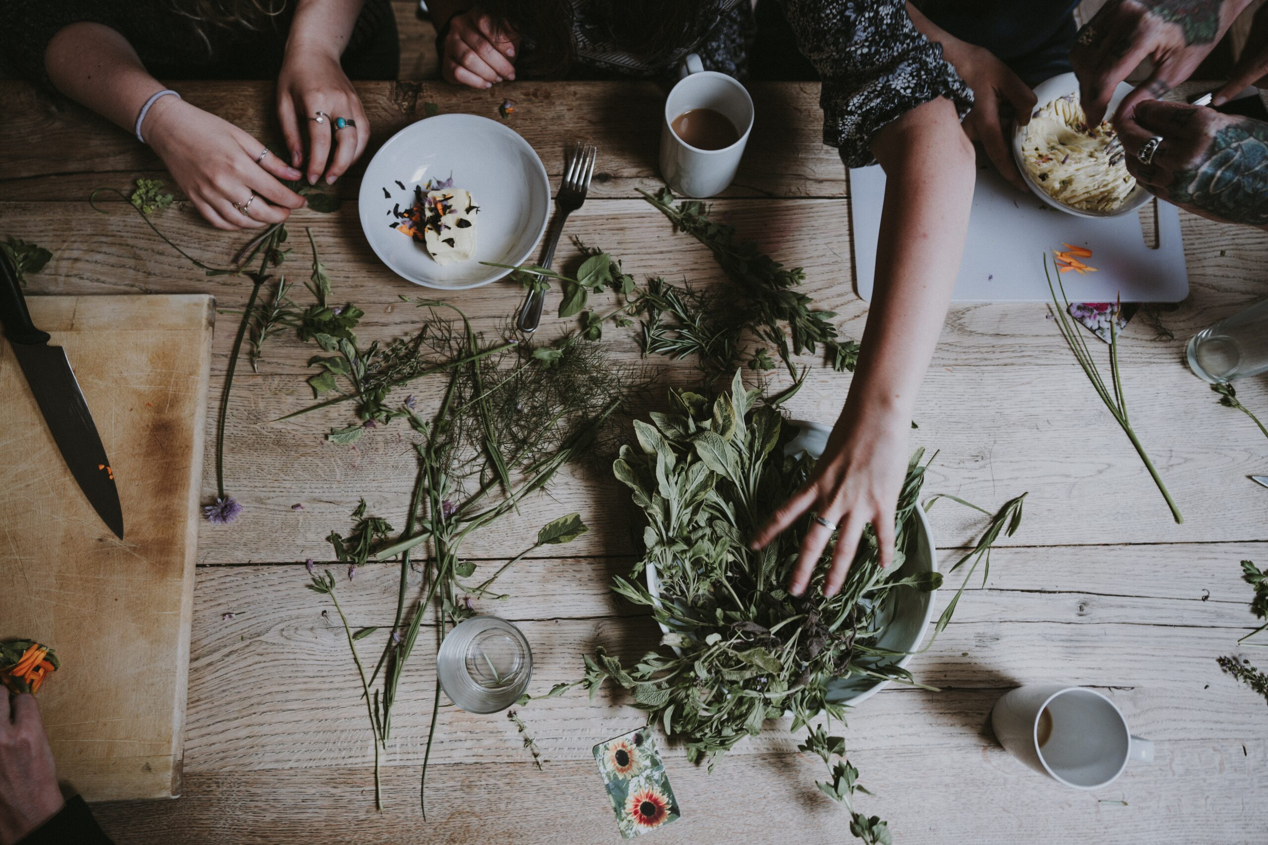 Family chopping herbs